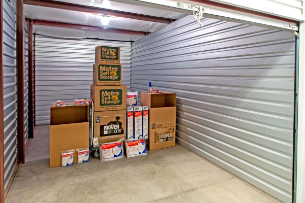 Unit interior with packages at Metro Self Storage in North Wales, Pennsylvania