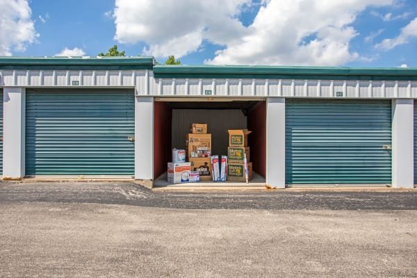 Open outdoor unit with packages at Metro Self Storage in Oakbrook Terrace, Illinois