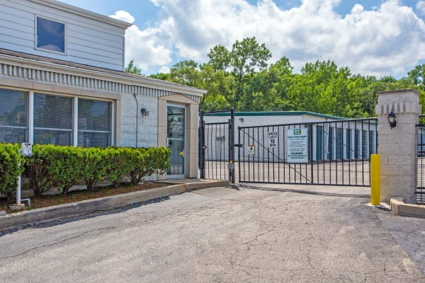 Access gate with security panel at Metro Self Storage in Oakbrook Terrace, Illinois