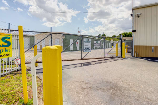 Access gate with security panel at Metro Self Storage in Port Charlotte, Florida
