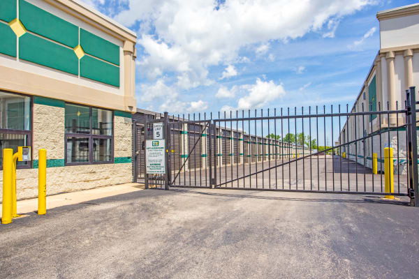 Access gate with security panel at Metro Self Storage in Palatine, Illinois
