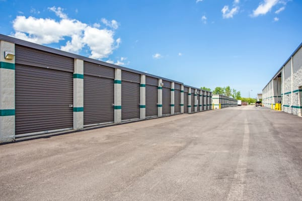 Exterior drive up units at Metro Self Storage in Palatine, Illinois