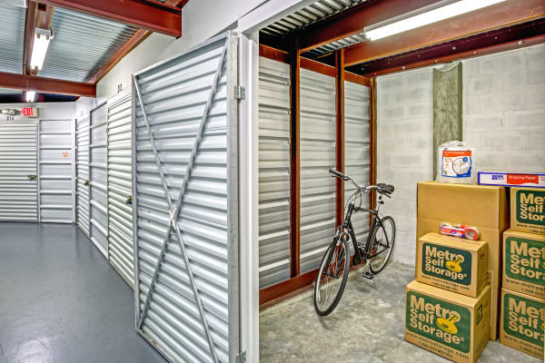 Open unit with packages at Metro Self Storage in Pinellas Park, Florida
