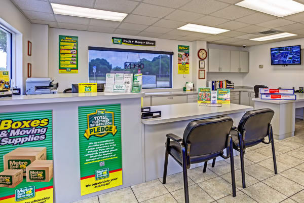 Office reception at Metro Self Storage in Pinellas Park, Florida