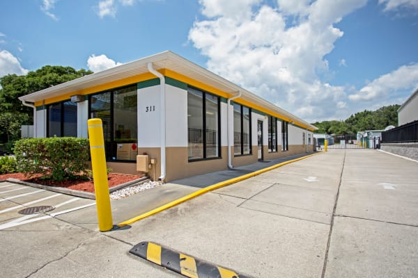 Leasing office exterior view at Metro Self Storage in Seffner, Florida