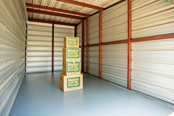 Unit interior with packages at Metro Self Storage in Seffner, Florida