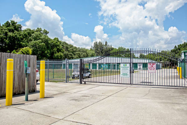 Access gate with security panel at Metro Self Storage in Seffner, Florida