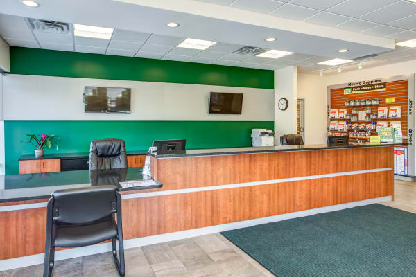 Leasing office reception at Metro Self Storage in Skokie, Illinois