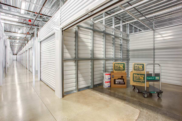 Open indoor unit with pacakges at Metro Self Storage in Skokie, Illinois