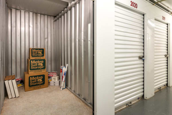 Open unit with packages at Metro Self Storage in Stone Mountain, Georgia