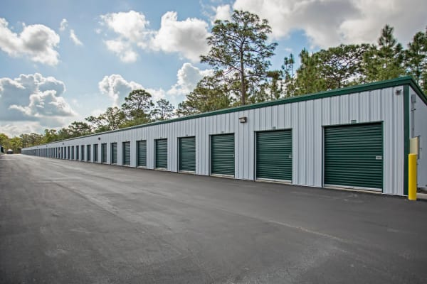 Exterior drive up units at Metro Self Storage in Spring Hill, Florida