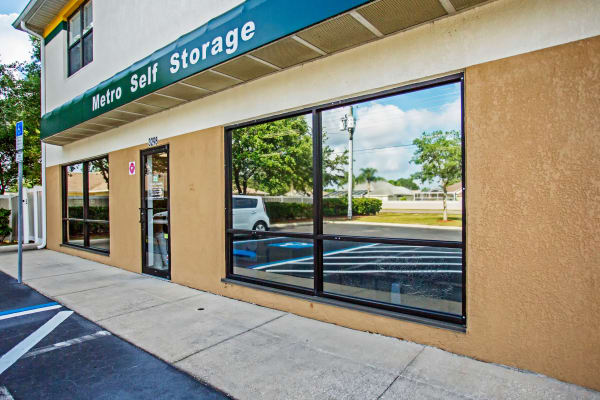 Leasing office entrance at Metro Self Storage in Spring Hill, Florida