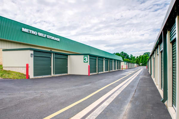 Exterior drive up units at Metro Self Storage in Trevose, Pennsylvania