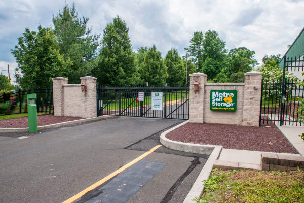 Access gate with security panel at Metro Self Storage in Trevose, Pennsylvania