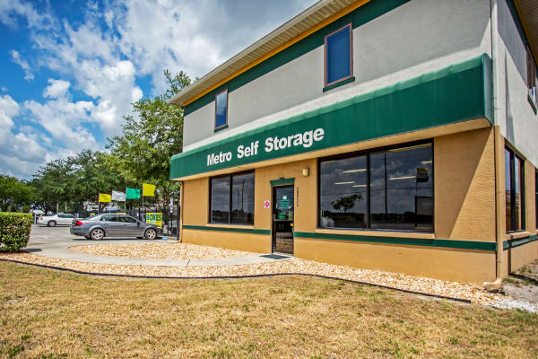 Leasing office entrance at Metro Self Storage in Wesley Chapel, Florida