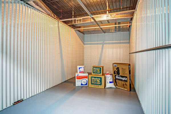 Unit interior with packages at Metro Self Storage in Wesley Chapel, Florida
