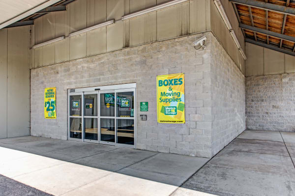 Leasing office entrance at Metro Self Storage in West Chicago, Illinois