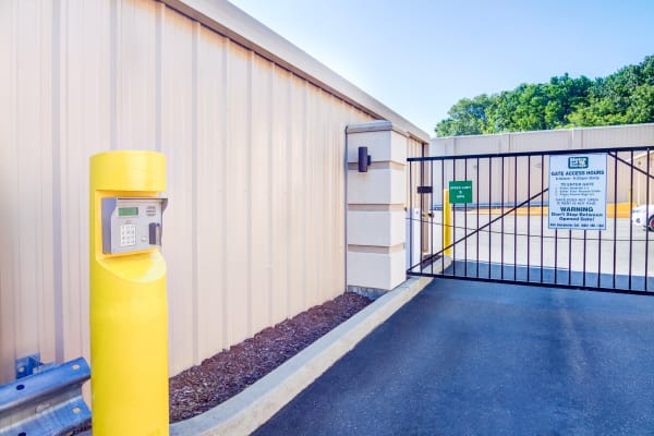 Access gate with security panel at Metro Self Storage in West Haven, Connecticut