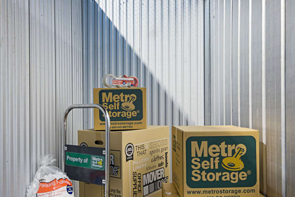 Unit interior with packages at Metro Self Storage in Chicago, Illinois