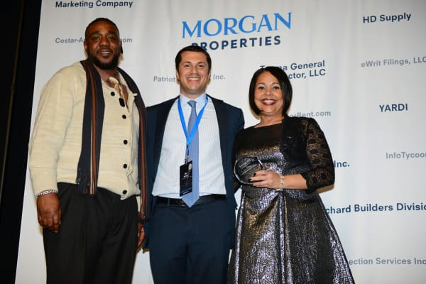 Morgan Properties team at award show for multifamily, real estate, workplace, and leadership award programs