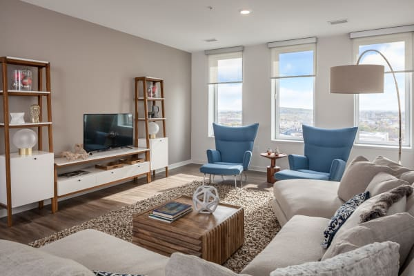 Living room at Tower280 in Rochester, NY