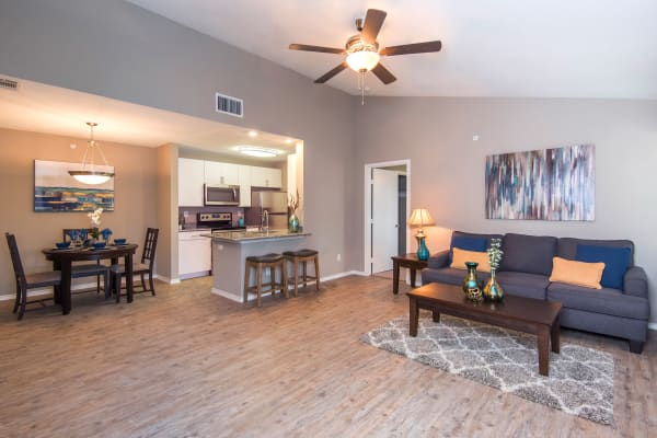 Living room layout at Carrollton Park of North Dallas in Dallas, Texas