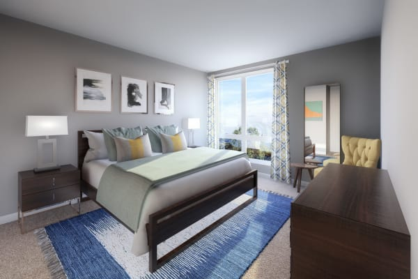 Modern bedroom at 50 Front Luxury Apartments in Binghamton, New York