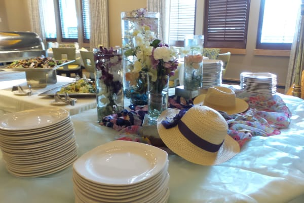 Table set for Mother's Day Dinner Buffet at All Seasons of Birmingham in Birmingham, Michigan