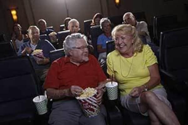 Senior citizens at the movies at Discovery Commons At Wildewood in California, Maryland.