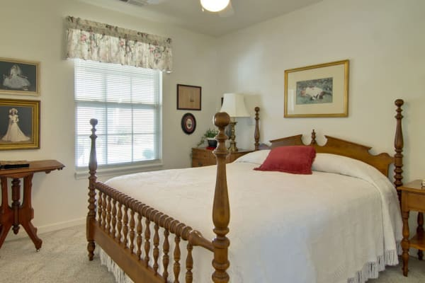 Assisted living apartment bedroom at St. Francis Park Senior Living in Kennett, Missouri