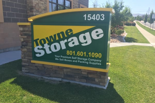 Storage front sign at Towne Storage in Bluffdale, Utah