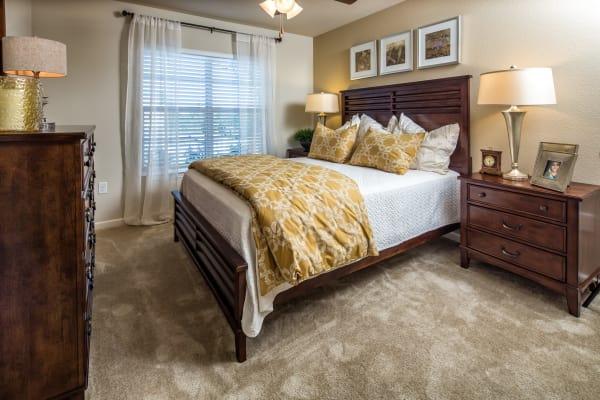 Naturally lit model bedroom at Enclave at Highland Ridge in Columbus, Georgia