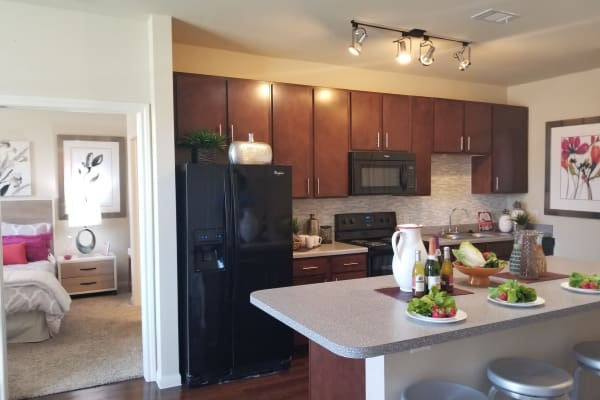 Kitchen With Stainless Steel Appliances And Wood Floor at Oak Forest