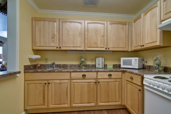 Assisted living apartment kitchen at Spring Ridge in Springfield, Missouri