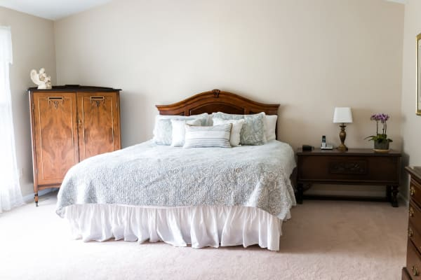 Assisted living model bedroom at NorthCliff in Lexington, Tennessee