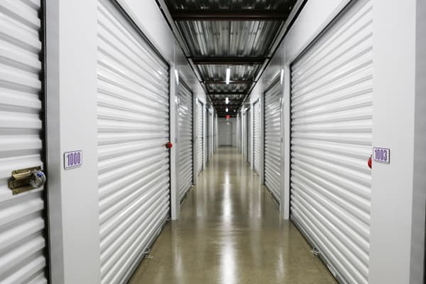 Interior units with white doors at StoreSmart Self-Storage in Loganville, Georgia