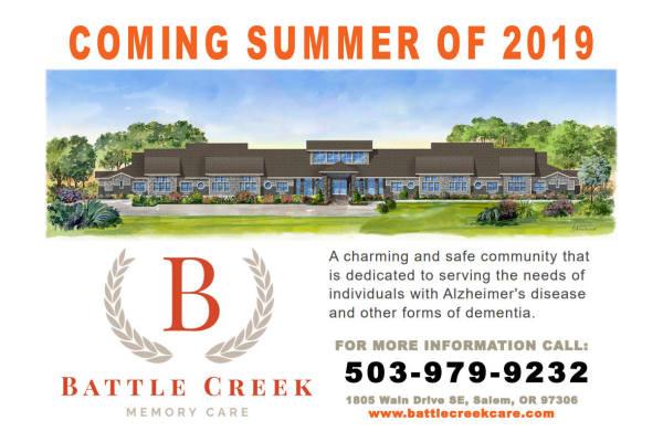 Battle Creek Memory Care in Salem, Oregon comming summer 2019