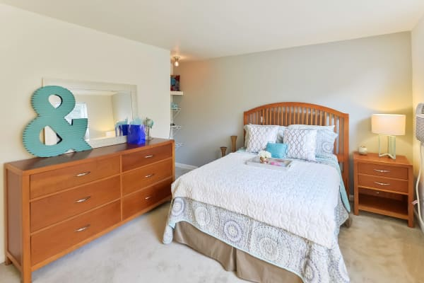 Beautiful bedroom at Wedgewood Hills Apartment Homes in Harrisburg, Pennsylvania