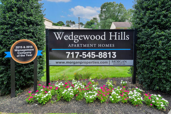 Entryway signage at Wedgewood Hills Apartment Homes in Harrisburg, Pennsylvania