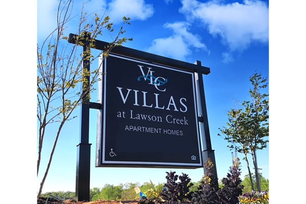 Welcome sign at Villas at Lawson Creek in Boiling Springs, South Carolina