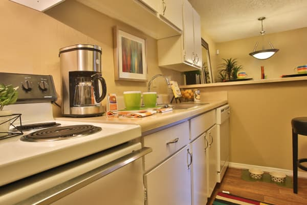 Kitchen in apartment at Willowick Apartments in College Station, Texas
