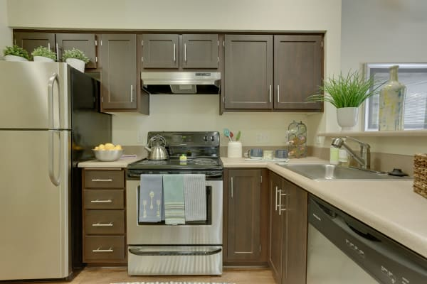 Brown renovated kitchen with stainless steel appliances at The Landings at Morrison Apartments in Gresham, OR