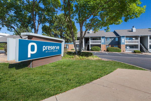 Exterior view of the The Preserve at City Center apartments in Aurora, Colorado