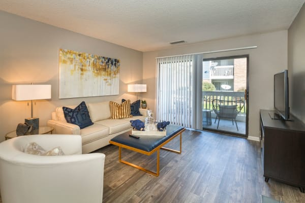 Cozy living room at The Preserve at City Center in Aurora