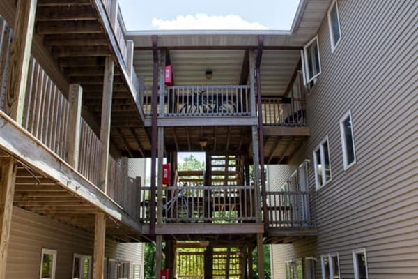 Stairways to apartments at Stone Court in Ames, Iowa