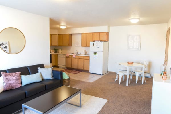 Apartment living room at Campus View & Kirkwood Court in Cedar Rapids, Iowa