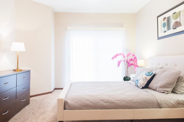 Spacious bedroom at Providence Pointe in Johnston, Iowa