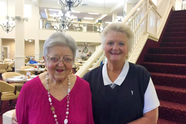 Staci Clemmer and Cleta at Alexis Estates Gracious Retirement Living in Allen, Texas