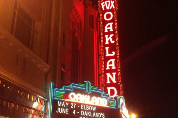 Neon sign for Fox Oakland near The Moran in Oakland, California