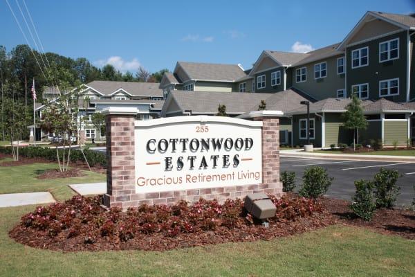 Main sign for Cottonwood Estates Gracious Retirement Living in Alpharetta, Georgia